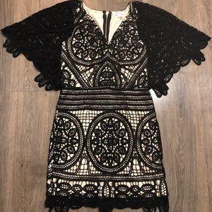 Black lace&cream soieblu cocktail dress/gown